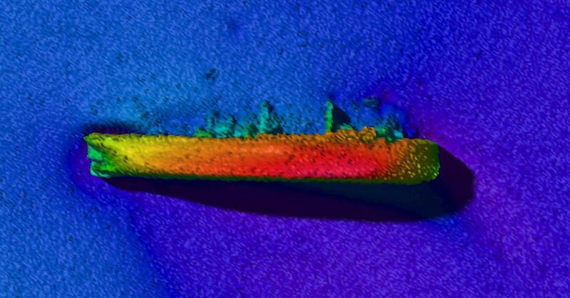 Sjöfartsverkets djupdatabild visar S/S Skytteren som ligger utanför Lysekil. Ingen vet exakt hur mycket bränsle som finns ombord och hur mycket som redan har läckt ut. Foto: Sjöfartsverket