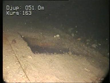 Bild från en video som spelats in av en fjärrstyrd farkost på S/S Skytteren där hon ligger på över 50 meters djup. Foto: Sjöfartsverket