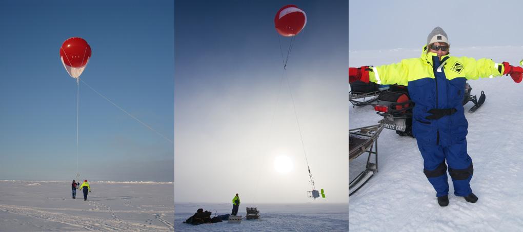 Med hjälp av jättelika ballonger tar forskarna prover på molnen. Foto: Thorsten Mauritsen