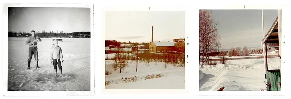 Monica Linds egna bilder visar hur det kunde se ut i Skarmyra på 60-talet. Till vänster isfiske på Långsjön. I mitten syns textilfabriken. Till höger utsikt från familjens vardagsrumsfönster.