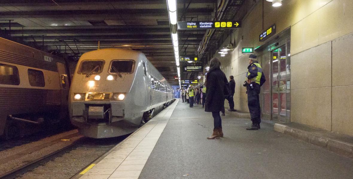 Tåg anländer till station